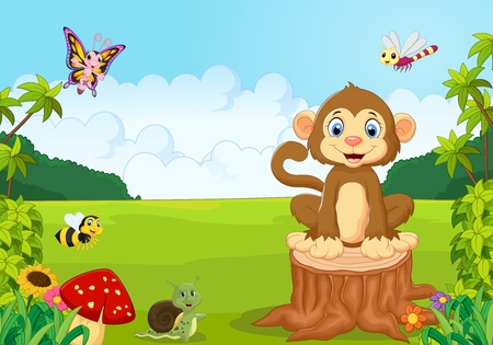 Happy monkey in the forest Illustration