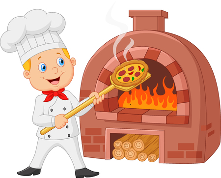 Cartoon chef holding hot pizza with traditional oven