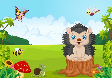 hedgehog: Cartoon sweet hedgehog in the jungle