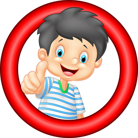 male teenager: Cartoon little boy giving thumb up