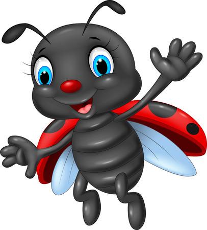 ladybug: Cartoon happy ladybug waving