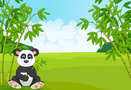 forest landscape: Cartoon cute panda in the bamboo forest