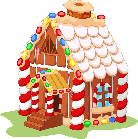Gingerbread house color Ilustrace
