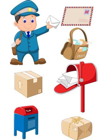 cartero: la recogida de correo sobre fondo blanco Vectores