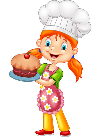 Girl Baking a Cake Illustration