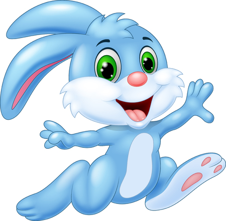funny animal: Cartoon bunny running and happy
