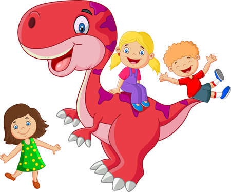 scary girl: Little kid playing on the dinosaur Illustration