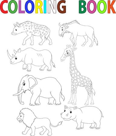 animal: Animal colouring book Stock Illustratie