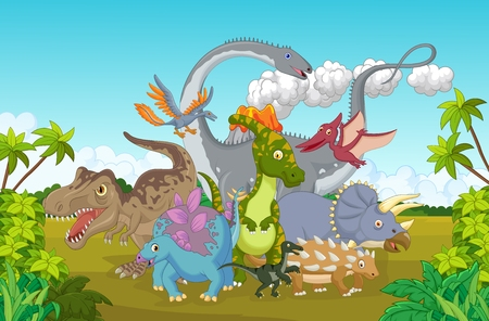 cartoon dinosaur: Cute dinosaur happy