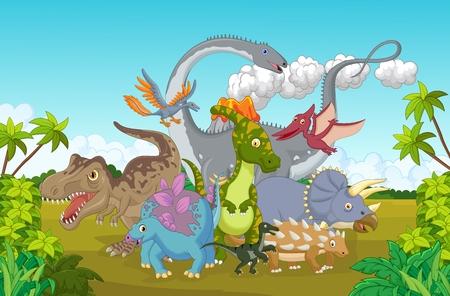 cute dinosaur: Feliz lindo de los dinosaurios Vectores