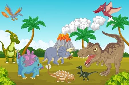 Collectie dinosaurus in de jungle