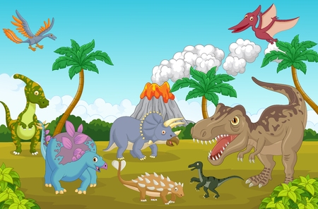 large group of animals: Collection dinosaur in the jungle