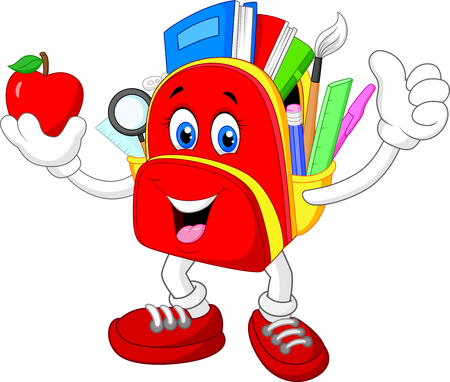 school bag: Happy bag giving thumb up