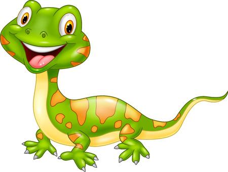 animali: Cartone animato lucertola carino. Vettoriali