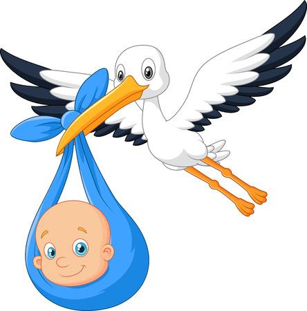Uccello del fumetto Cicogna con il bambino Vettoriali