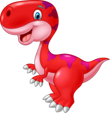 dinosaur cute: Cartoon happy dinosaur