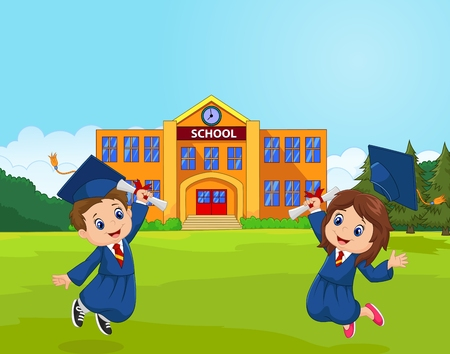 Cartoon Graduation Celebration with school