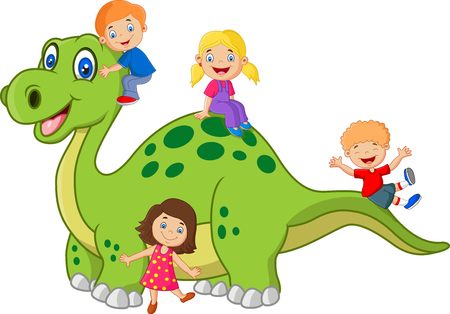Cartoon little kid playing on the dinosaur