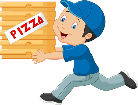 pizza man: Cartoon a delivery man holding pizza