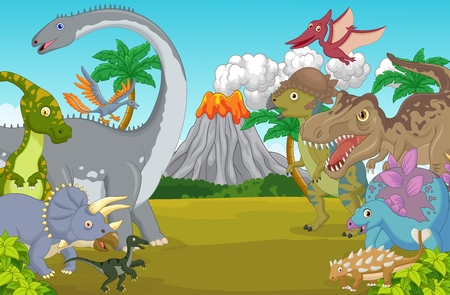 Dino: Cartoon dinosaur character with volcano Illustration