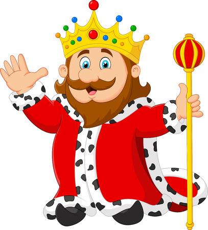 cetro: Rey de la historieta que sostiene un cetro de oro sobre fondo blanco Vectores