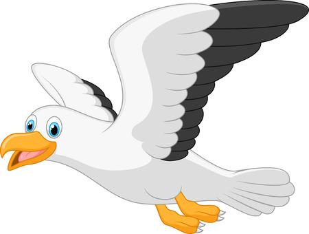 漫画の白い背景の上の笑顔のカモメ  イラスト・ベクター素材