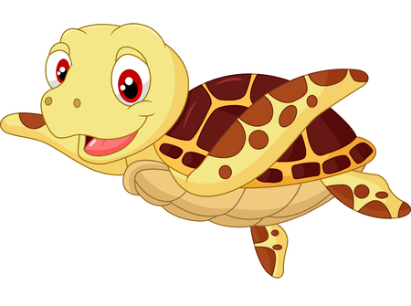 sea side: Cartoon baby cute turtle on the white background