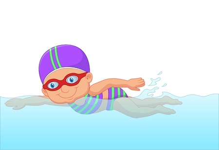 swimming glasses: Cartoon little girl swimmer in the swimming pool.
