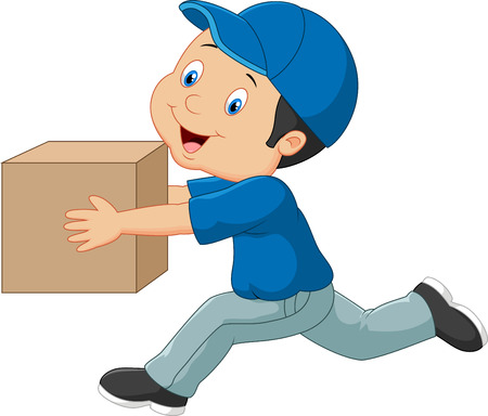 Cartoon a delivery man holding box