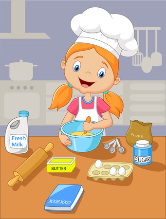 baker: Cartoon little girl holding batter cake