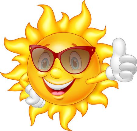 smiley pouce: Cartoon soleil donnant pouce vers le haut