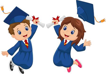 preescolar: Celebración de la graduación de la historieta en el fondo blanco