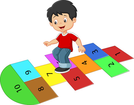 Cartoon boy on the hopscotch