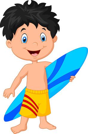 Cartoon little kid holding surfboard on white background Illustration