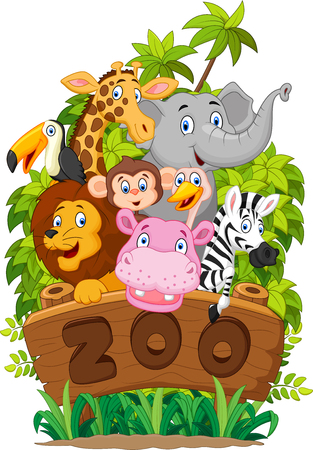 illustration zoo: Cartoon collection happy animal of zoo