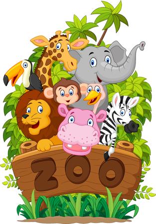 selva caricatura: Colección de dibujos animados animal feliz del zoológico