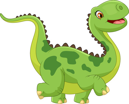 dinosaurio: Dinosaurio feliz de dibujos animados sobre fondo blanco
