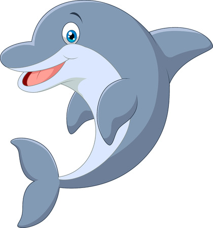 Standing Dolphin Vector Illustration on white background
