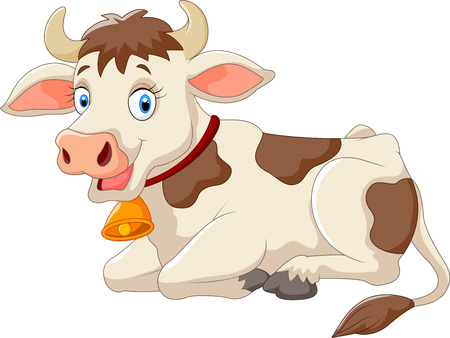 moo: Cartoon Happy cartoon cow sitting on white background