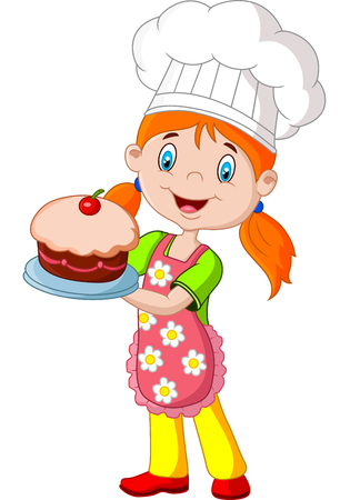 little chef: Cartoon little girl holding cake on white background Illustration