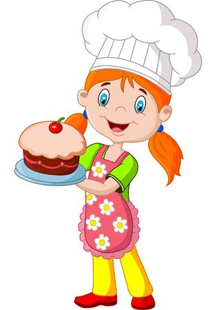 galletas: Ni�a de la historieta con pastel sobre fondo blanco