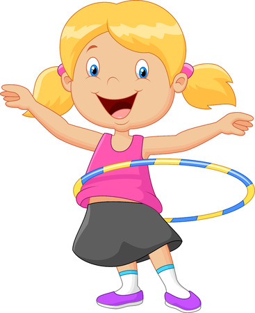 hulahoop: Cute girl twirling on white background Illustration