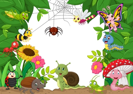 insect on leaf: Cartoon happy little animals . vector illustration Illustration
