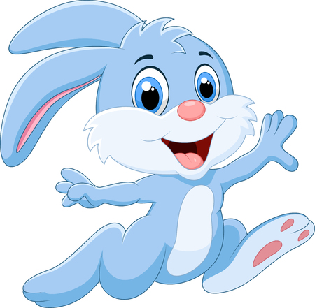 animal vector: Cartoon bunny running and happy on white background Illustration