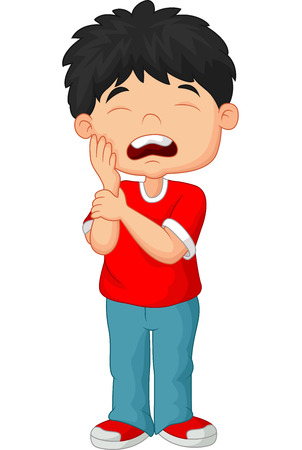 Cartoon little boy toothache on white background
