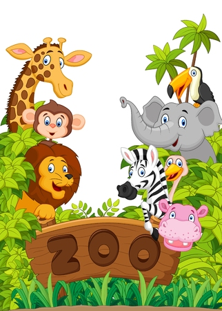 large group of animals: Cartoon collection happy animal of zoo