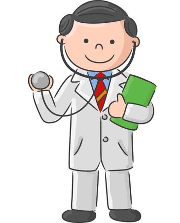 bocetos de personas: Doctor que sostiene la muestra en blanco y la ilustración stethoscope.vector