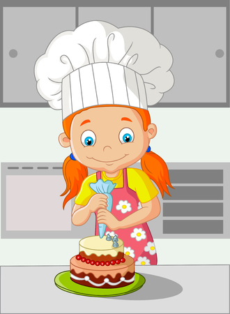 cooking chef: Cartoon little girl cooking cake