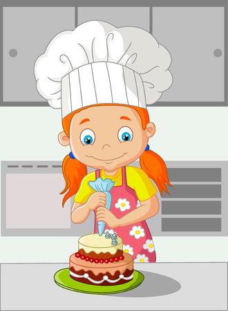 decoracion de pasteles: Ni�a de la historieta de la torta de cocina