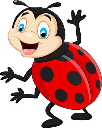 ladybug cartoon: Mariquita de la historieta que agita Vectores